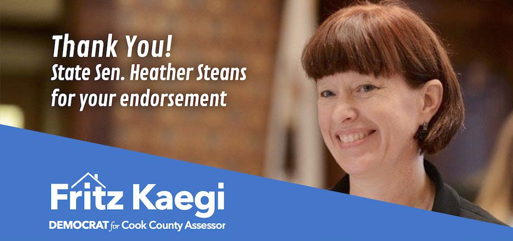 State Sen. Steans Endorses Progressive Democrat Kaegifor Cook County Assessor